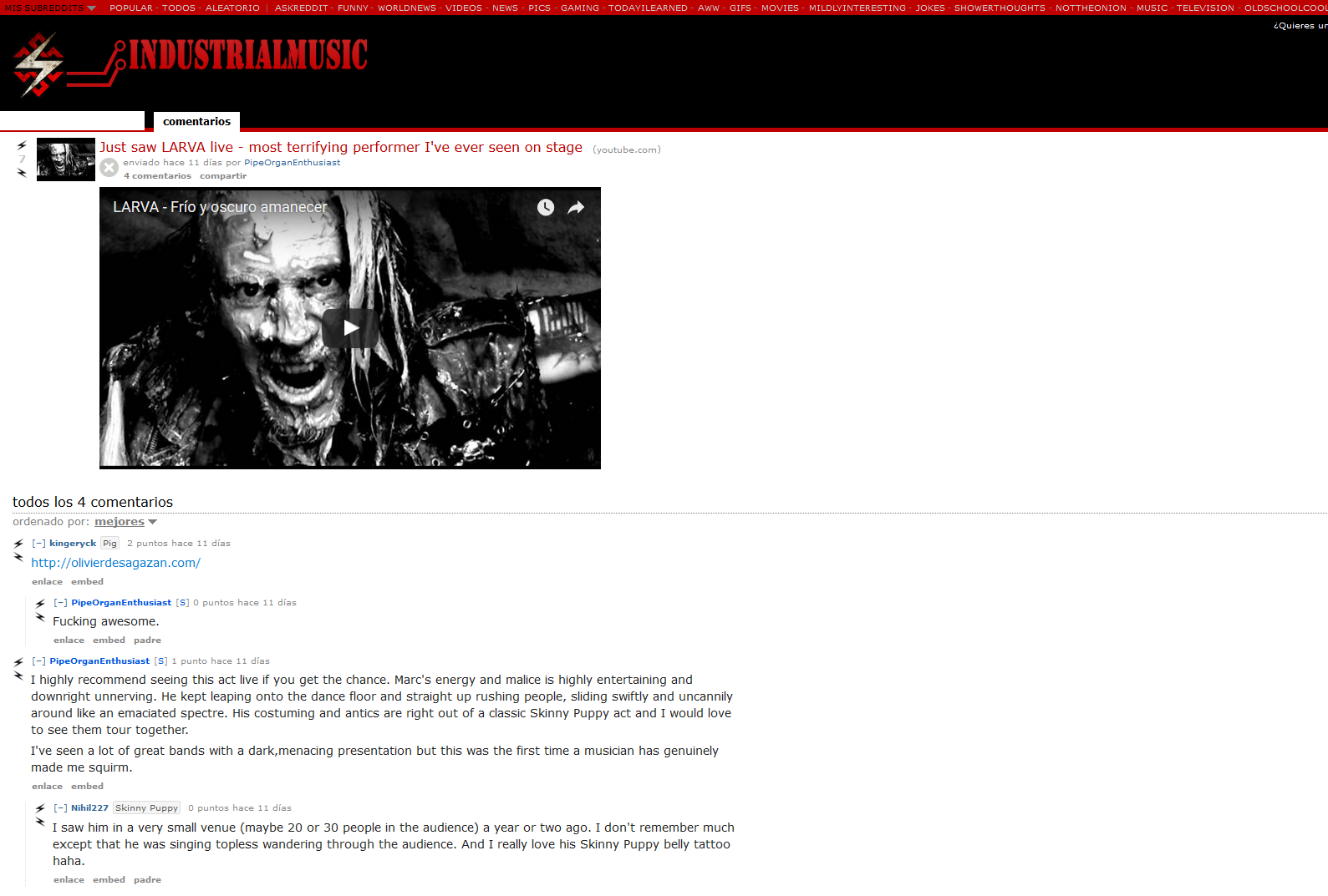 Larva Official Webpage - Liveshows reviews